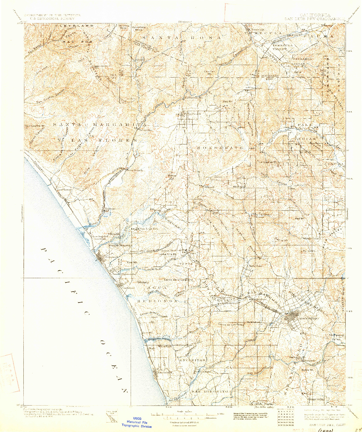 USGS 1:125000-SCALE QUADRANGLE FOR SAN LUIS REY, CA 1901