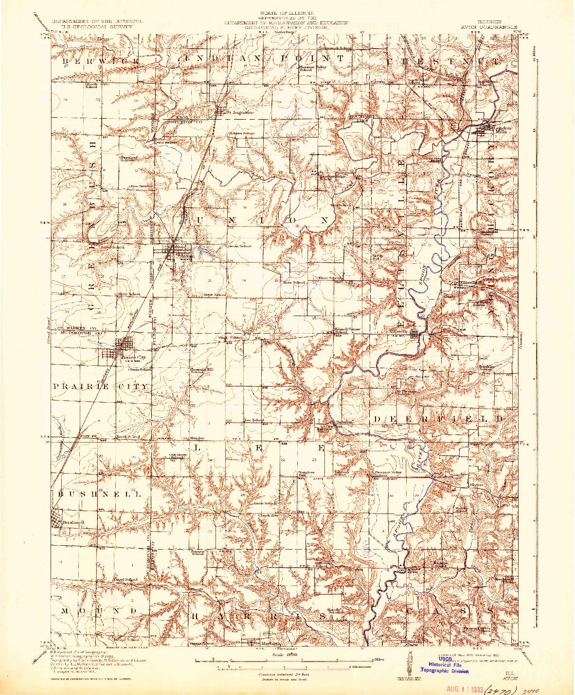 USGS 1:62500-SCALE QUADRANGLE FOR AVON, IL 1915