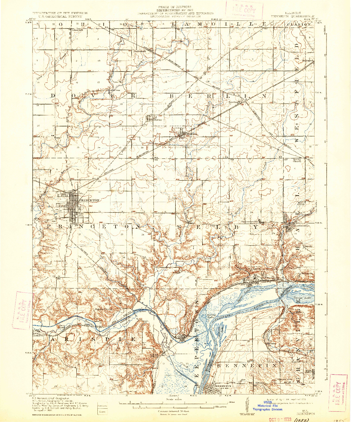 USGS 1:62500-SCALE QUADRANGLE FOR HENNEPIN, IL 1911