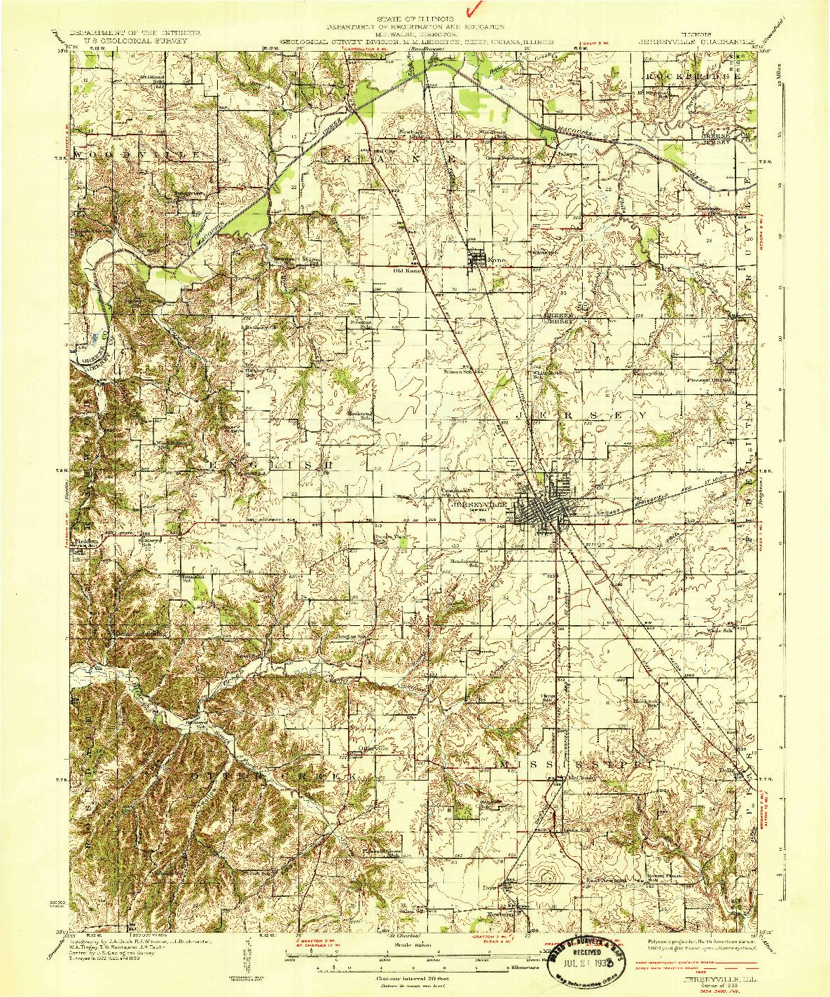 USGS 1:62500-SCALE QUADRANGLE FOR JERSEYVILLE, IL 1933