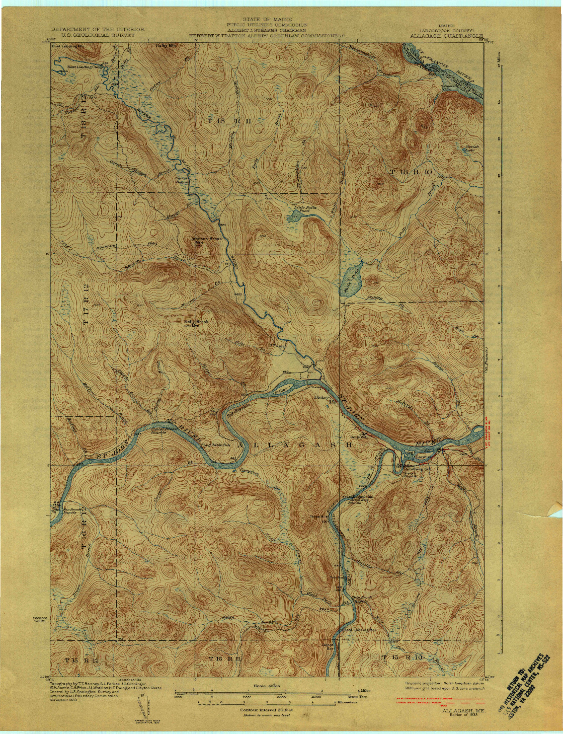 USGS 1:62500-SCALE QUADRANGLE FOR ALLAGASH, ME 1933
