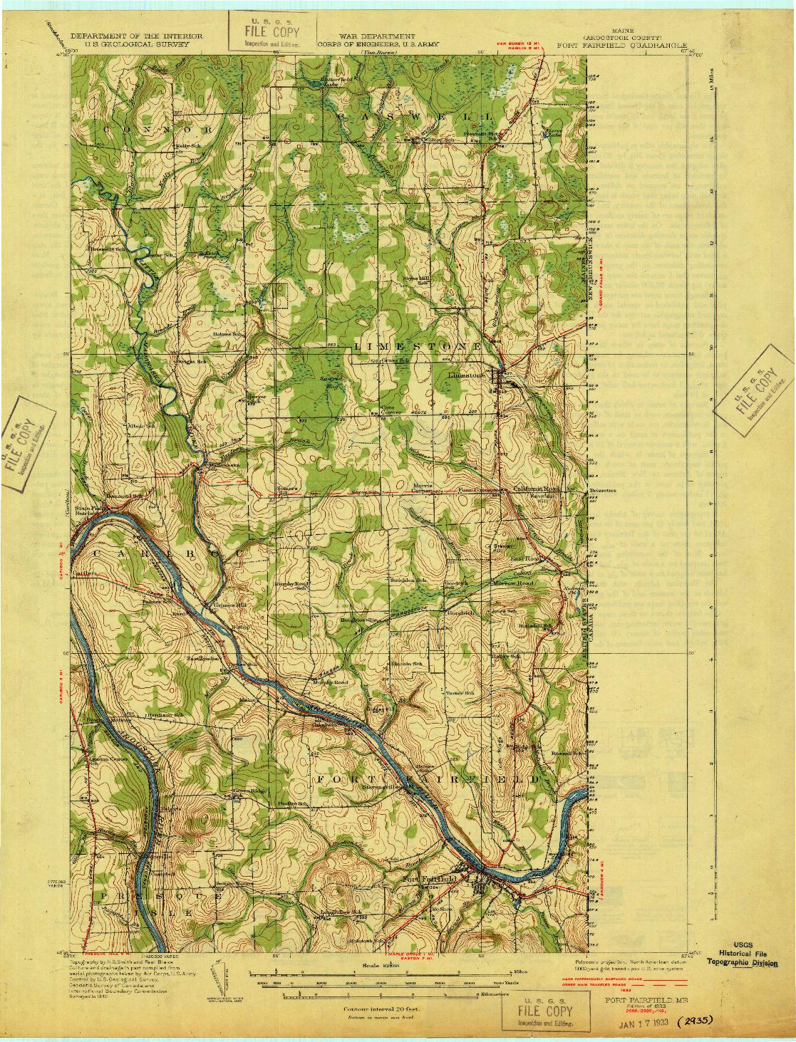 USGS 1:62500-SCALE QUADRANGLE FOR FORT FAIRFIELD, ME 1933