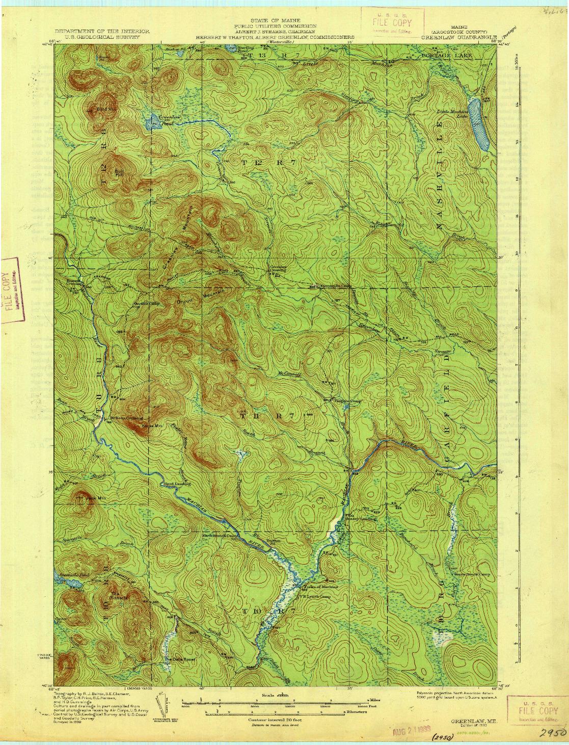 USGS 1:62500-SCALE QUADRANGLE FOR GREENLAW, ME 1933