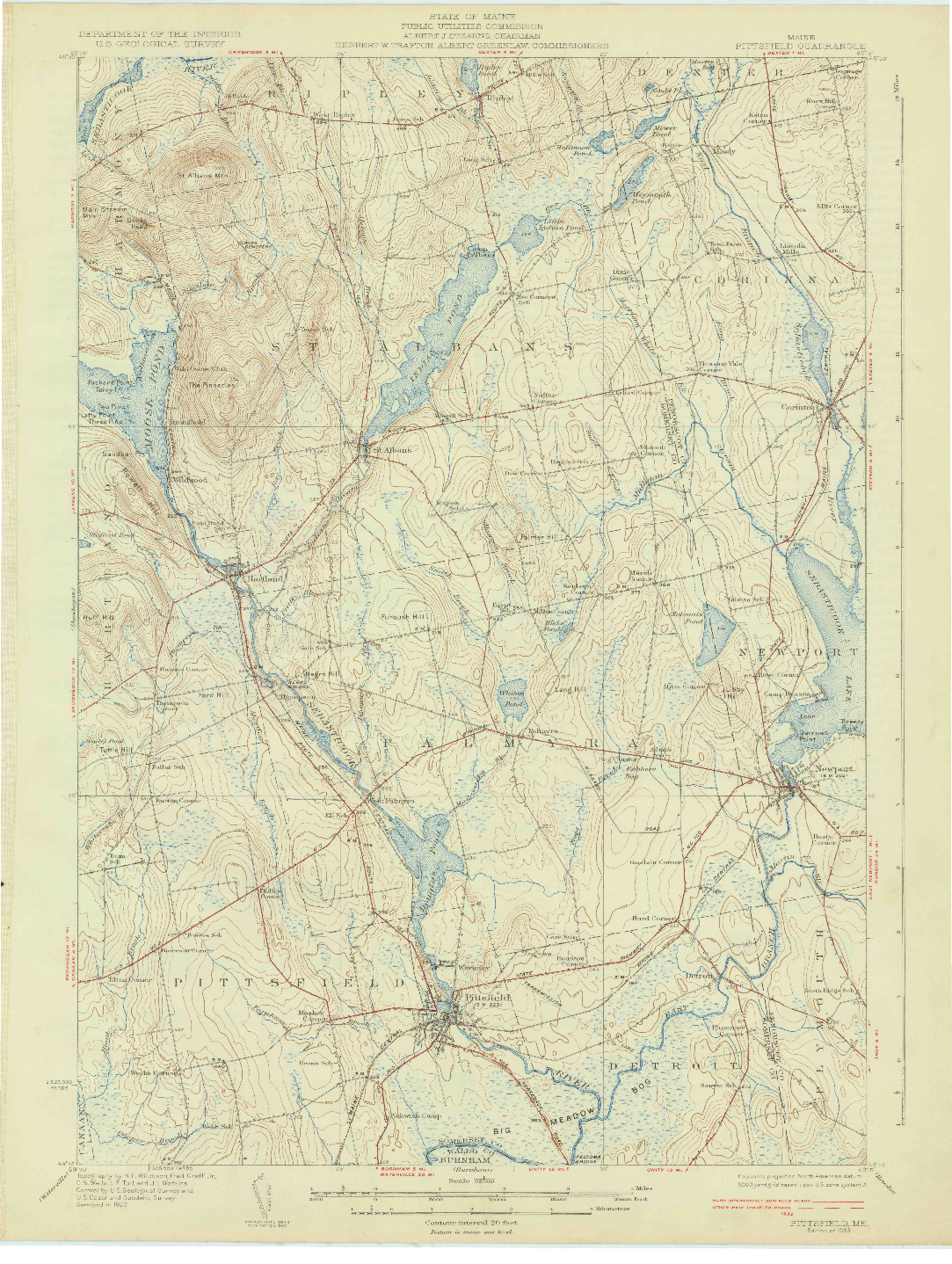 USGS 1:62500-SCALE QUADRANGLE FOR PITTSFIELD, ME 1933