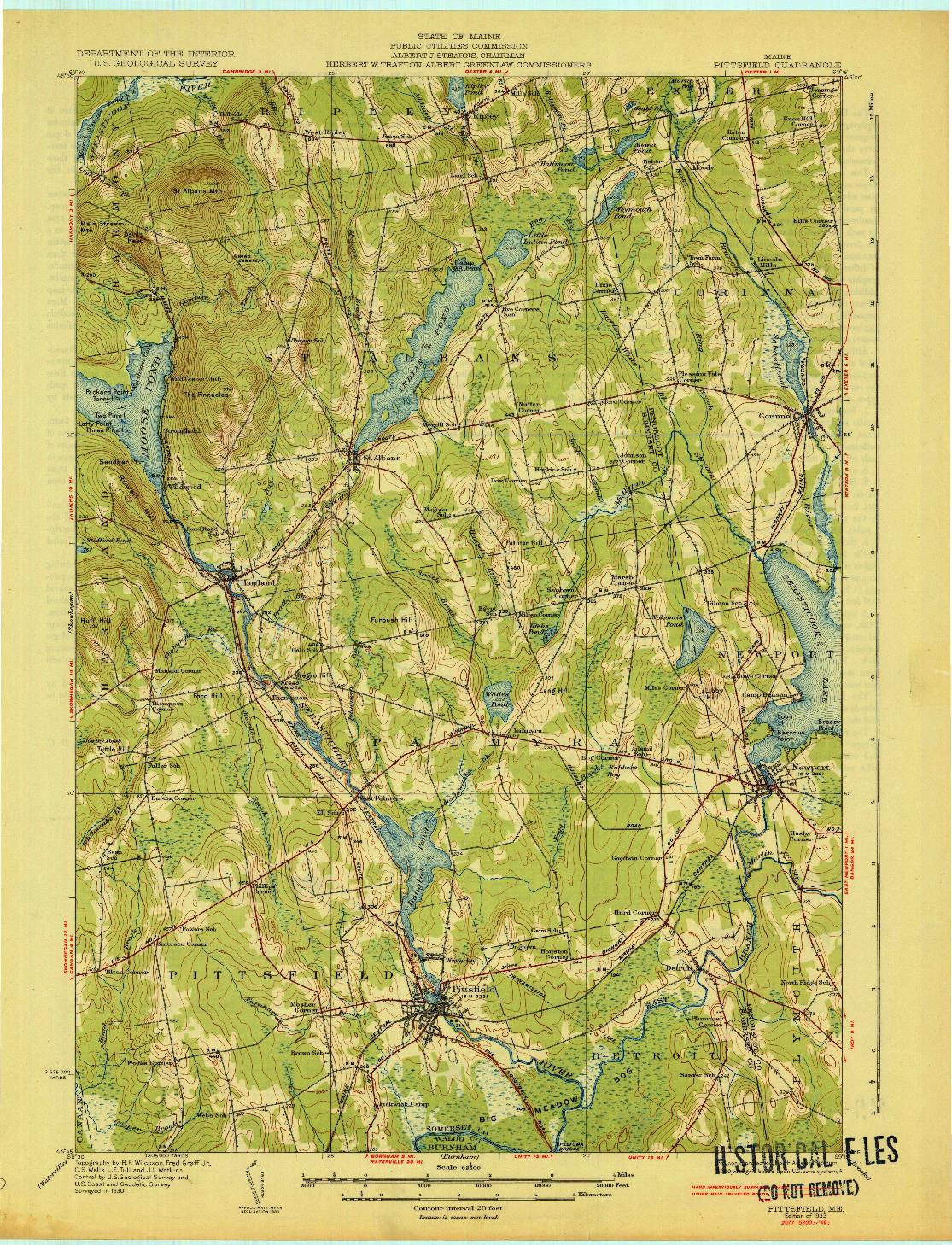 USGS 1:62500-SCALE QUADRANGLE FOR PITTSFIELD, ME 1933