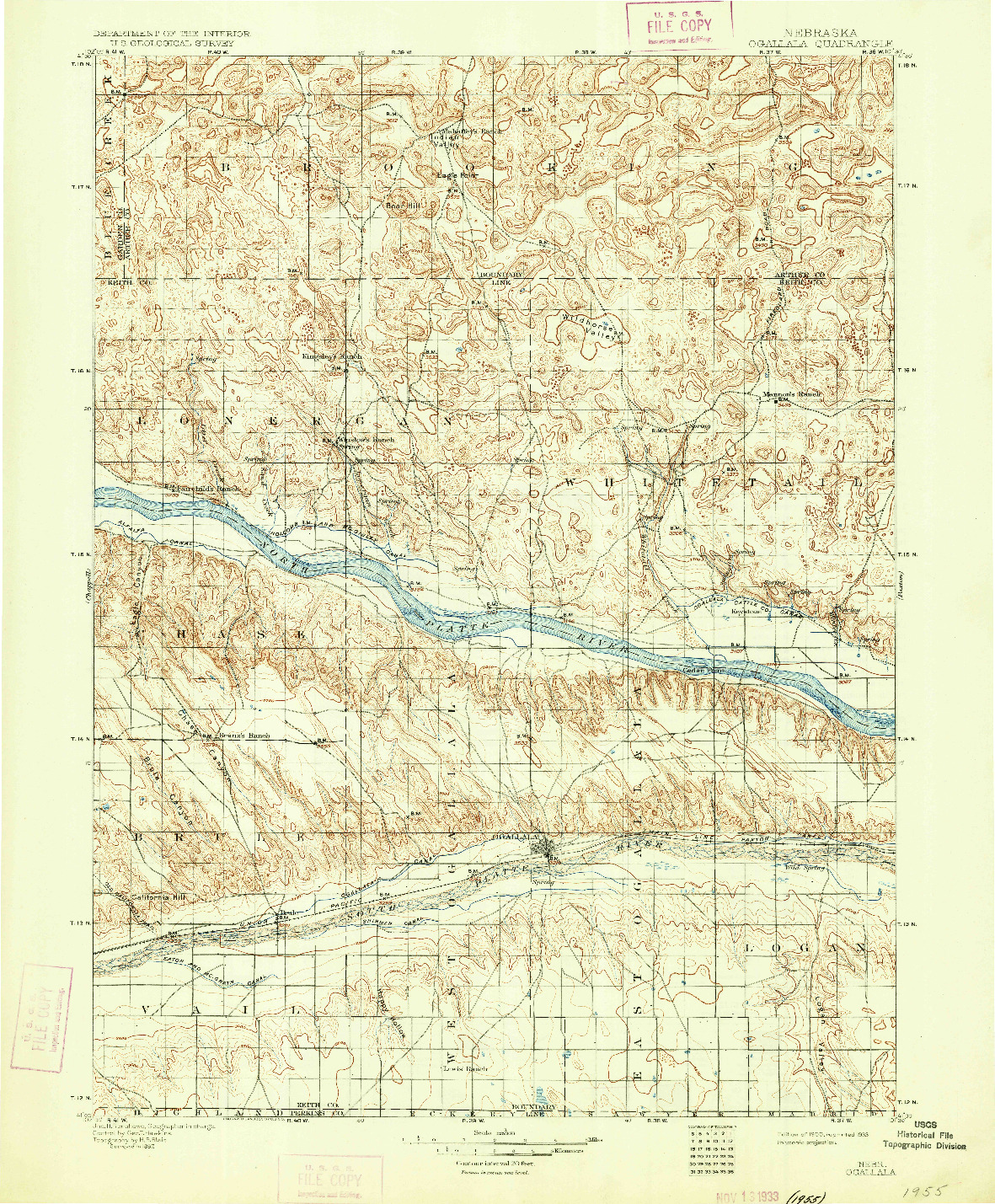 USGS 1:125000-SCALE QUADRANGLE FOR OGALLALA, NE 1900