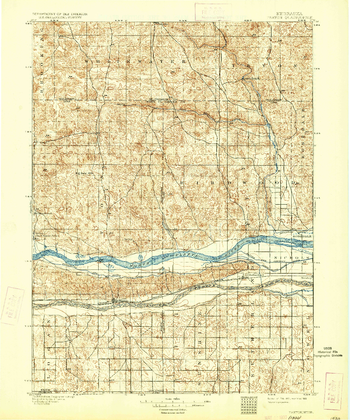 USGS 1:125000-SCALE QUADRANGLE FOR PAXTON, NE 1901