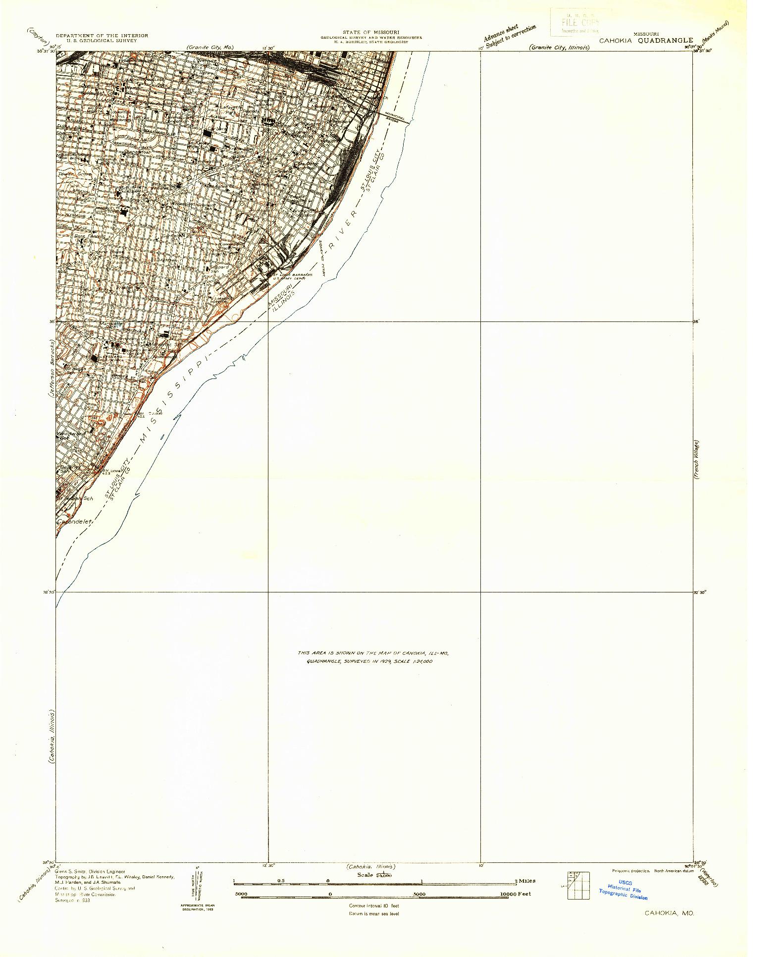 USGS 1:24000-SCALE QUADRANGLE FOR CAHOKIA, MO 1933