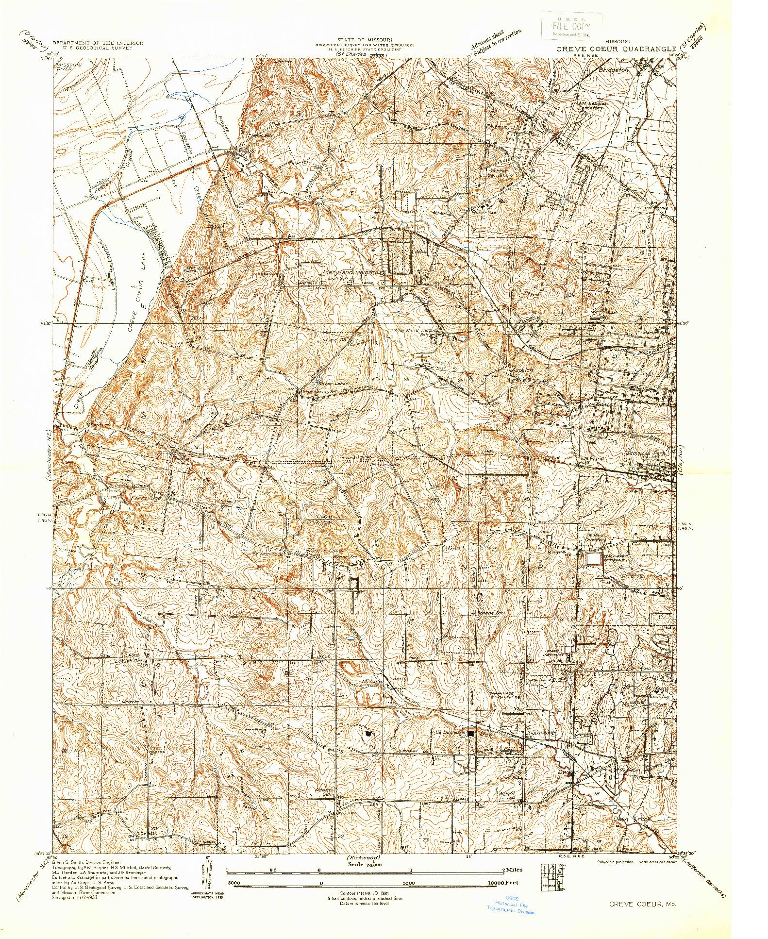 USGS 1:24000-SCALE QUADRANGLE FOR CREVE COEUR, MO 1933