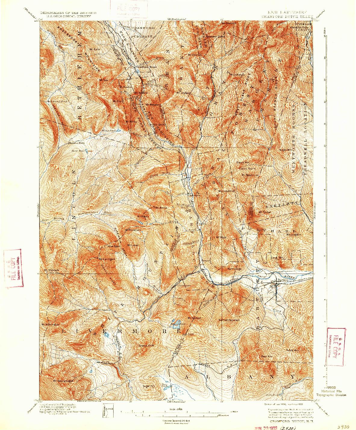 USGS 1:62500-SCALE QUADRANGLE FOR CRAWFORD NOTCH, NH 1896
