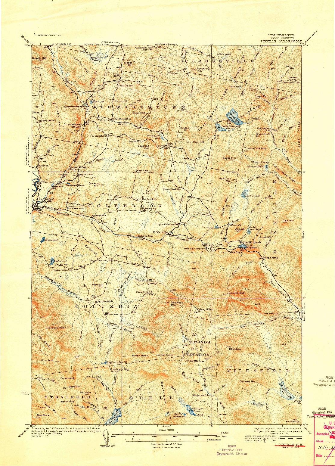 USGS 1:62500-SCALE QUADRANGLE FOR DIXVILLE, NH 1933