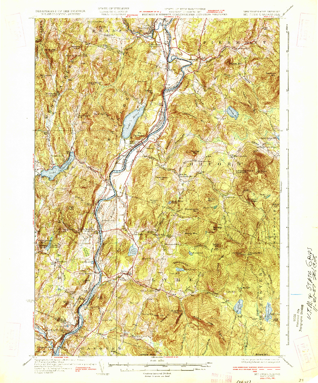 USGS 1:62500-SCALE QUADRANGLE FOR MT. CUBE, NH 1933
