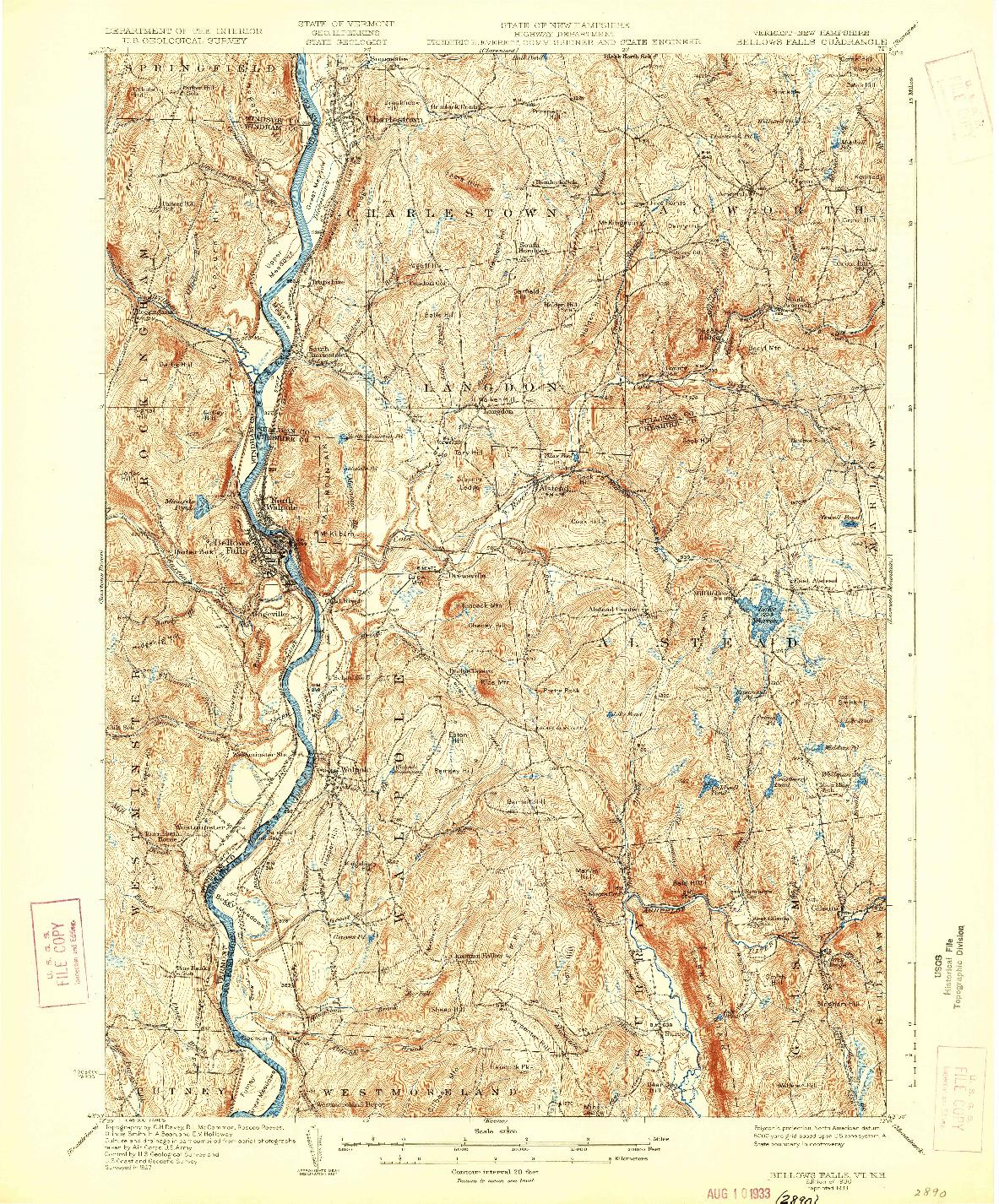 USGS 1:62500-SCALE QUADRANGLE FOR BELLOWS FALLS, VT 1930