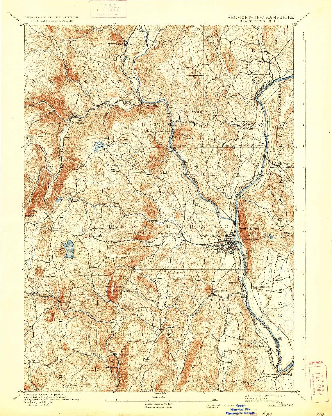USGS 1:62500-SCALE QUADRANGLE FOR BRATTLEBORO, VT 1893