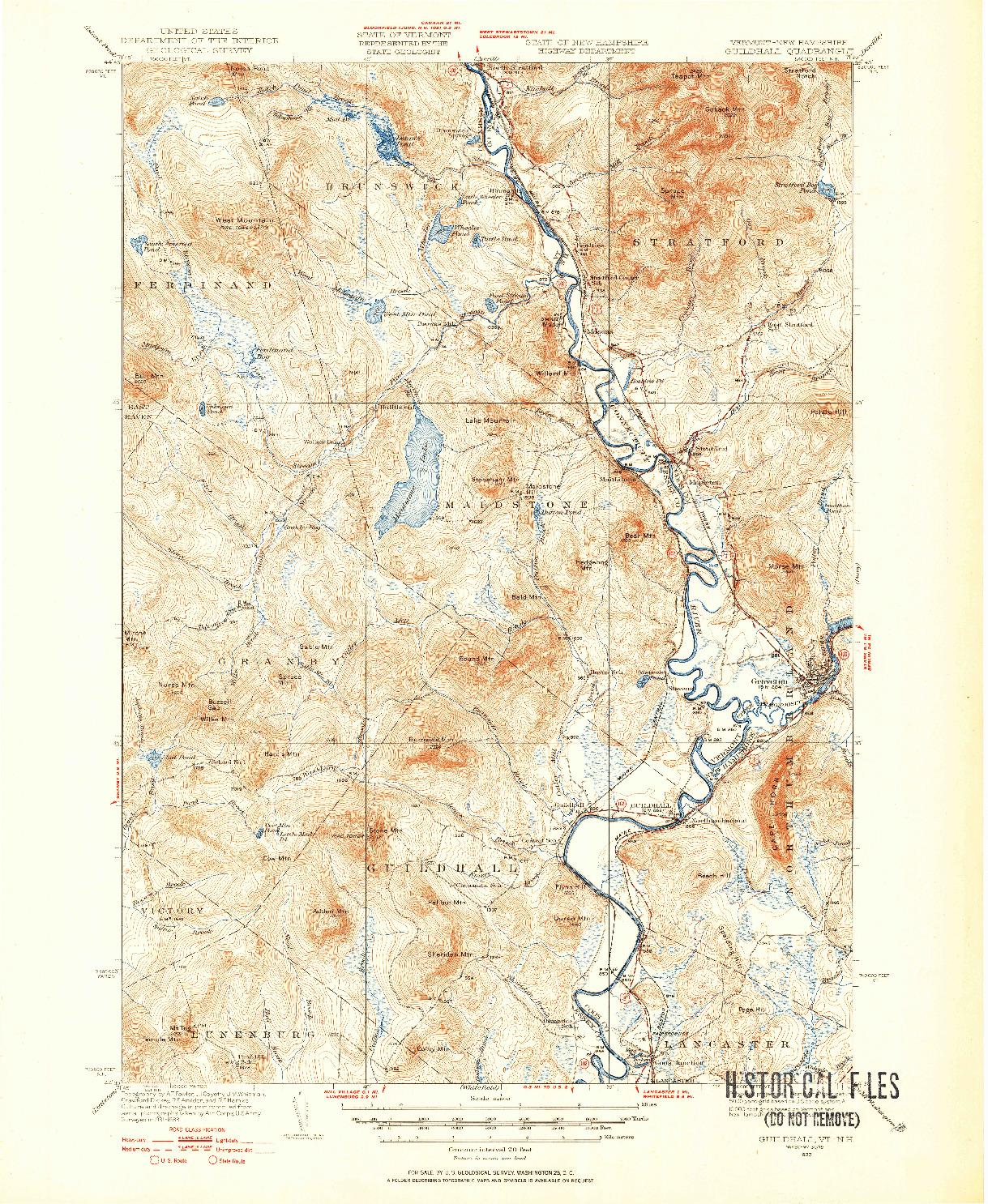USGS 1:62500-SCALE QUADRANGLE FOR GUILDHALL, VT 1933
