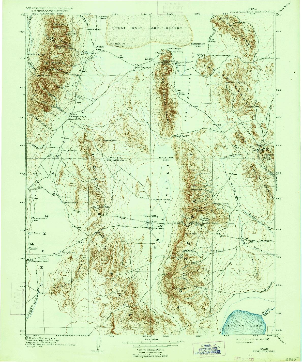 USGS 1:250000-SCALE QUADRANGLE FOR FISH SPRINGS, UT 1910