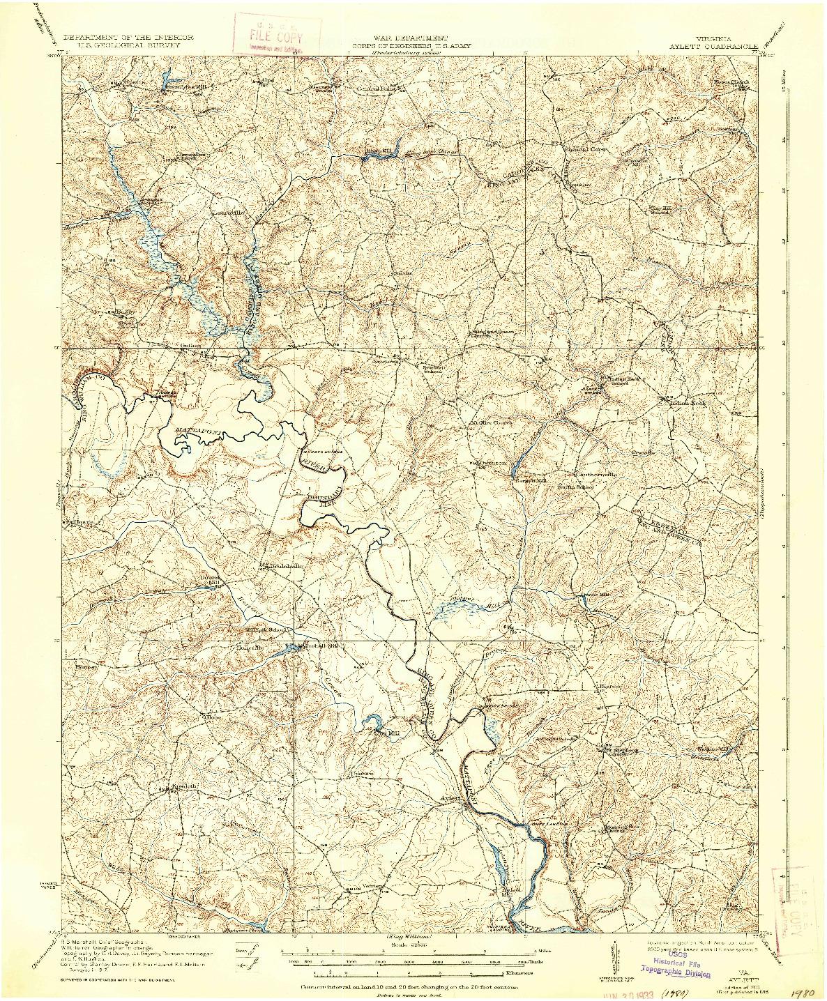 USGS 1:62500-SCALE QUADRANGLE FOR AYLETT, VA 1933