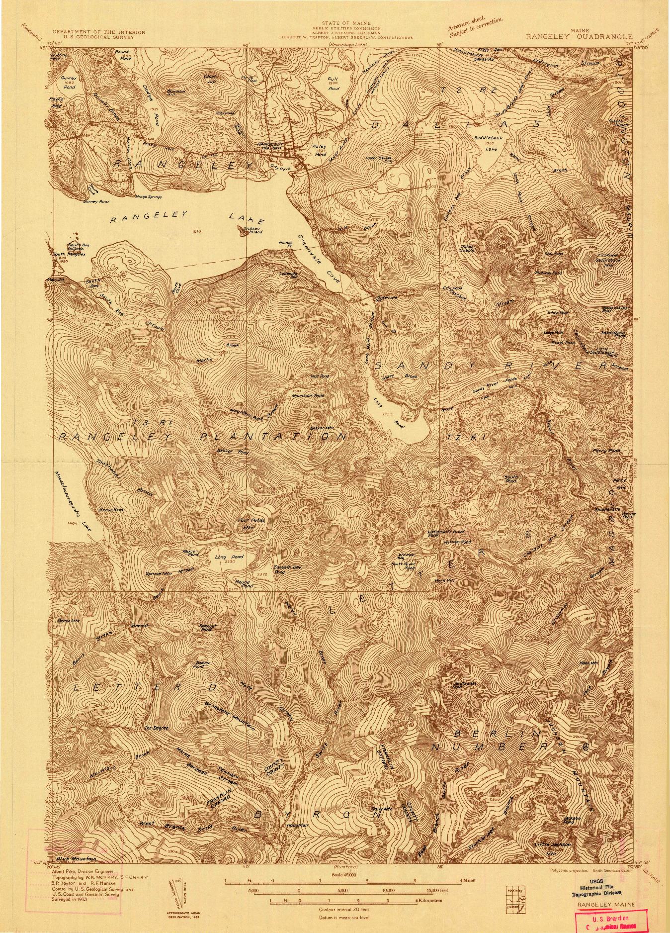 USGS 1:48000-SCALE QUADRANGLE FOR RANGELEY, ME 1933