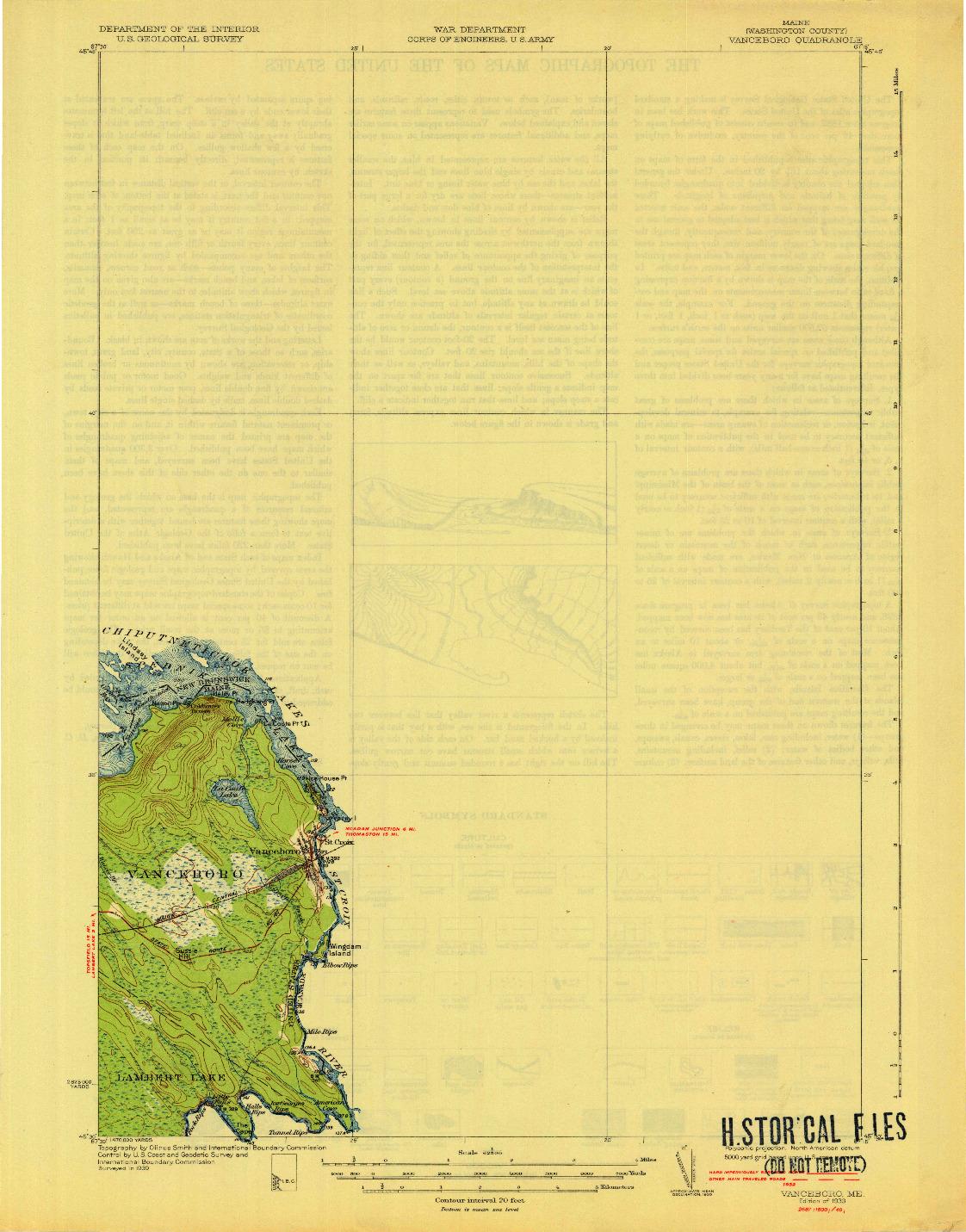 USGS 1:62500-SCALE QUADRANGLE FOR VANCEBORO, ME 1933