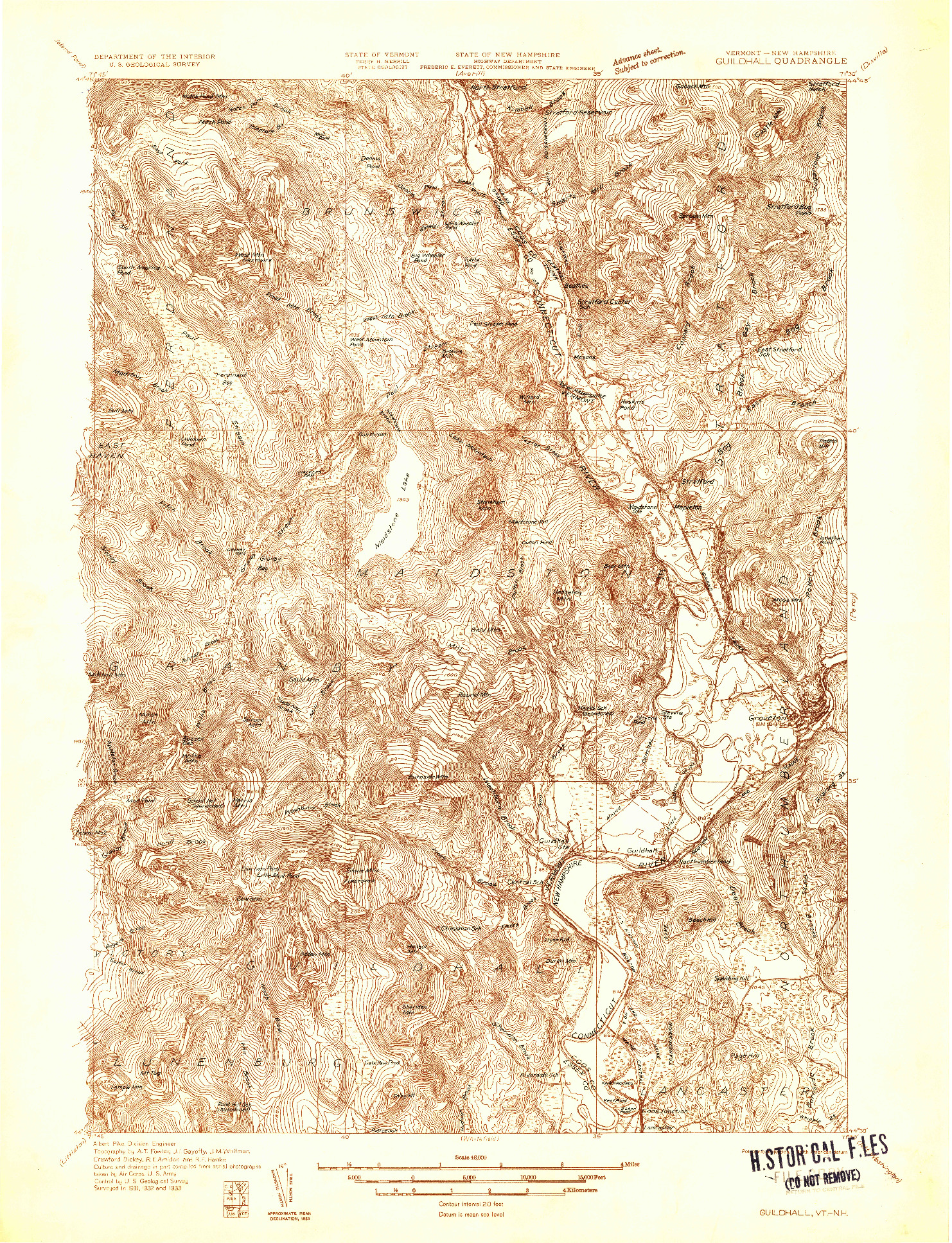 USGS 1:48000-SCALE QUADRANGLE FOR GUILDHALL, VT 1933