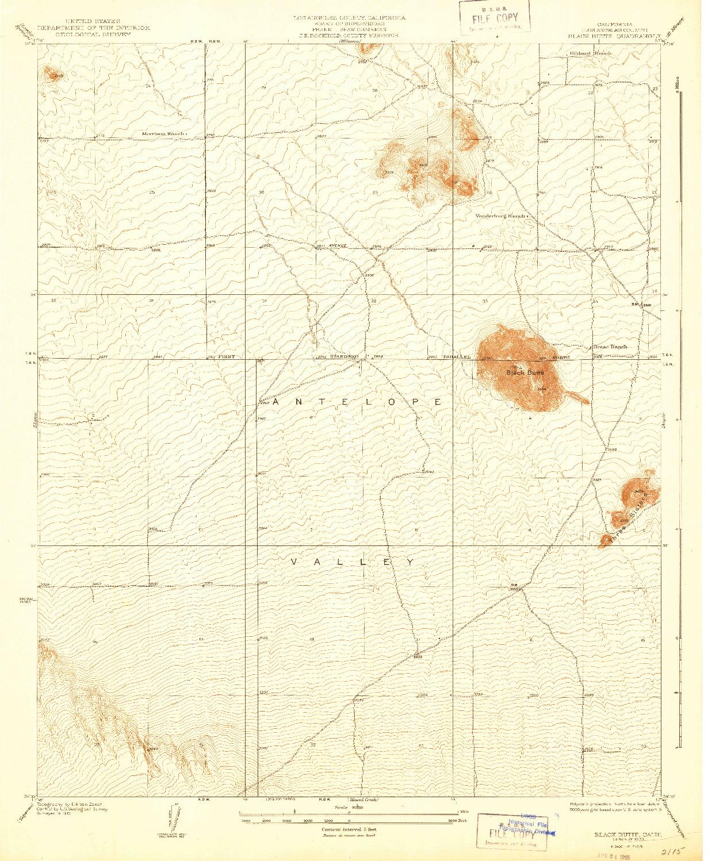 USGS 1:24000-SCALE QUADRANGLE FOR BLACK BUTTE, CA 1933