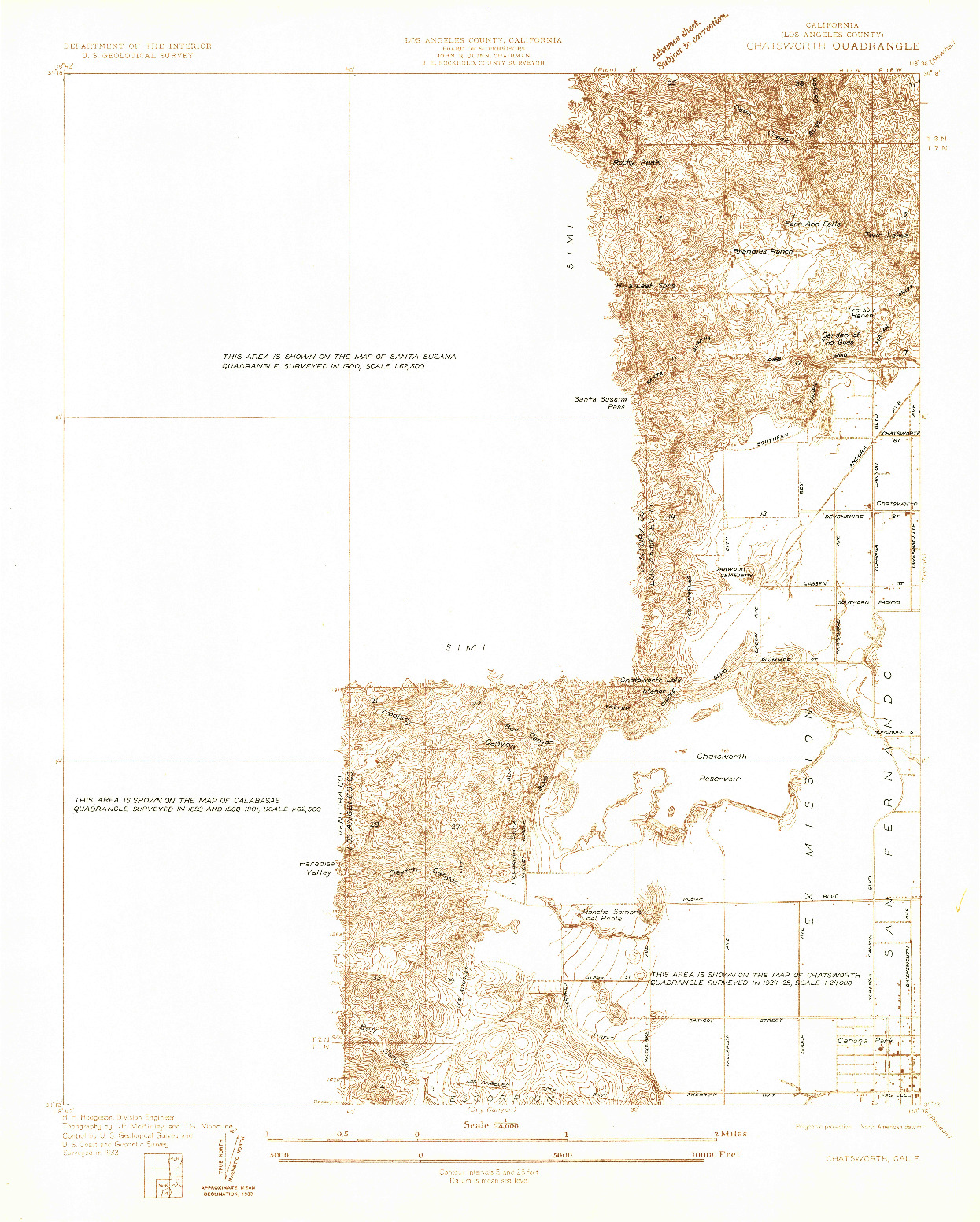 USGS 1:24000-SCALE QUADRANGLE FOR CHATSWORTH, CA 1933