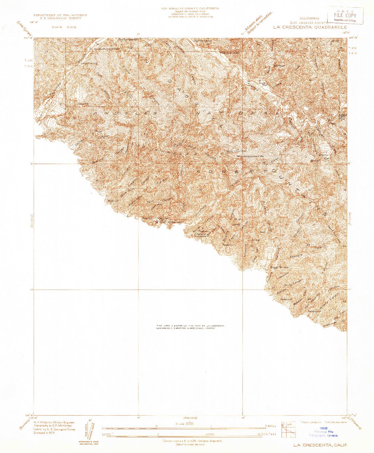 USGS 1:24000-SCALE QUADRANGLE FOR LA CRESCENTA, CA 1933