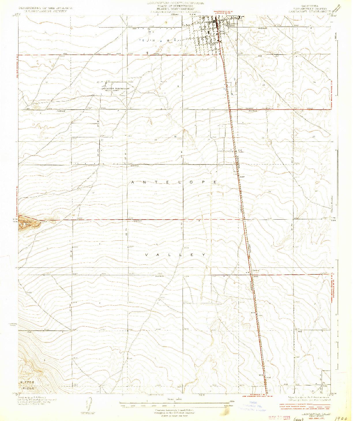 USGS 1:24000-SCALE QUADRANGLE FOR LANCASTER, CA 1933