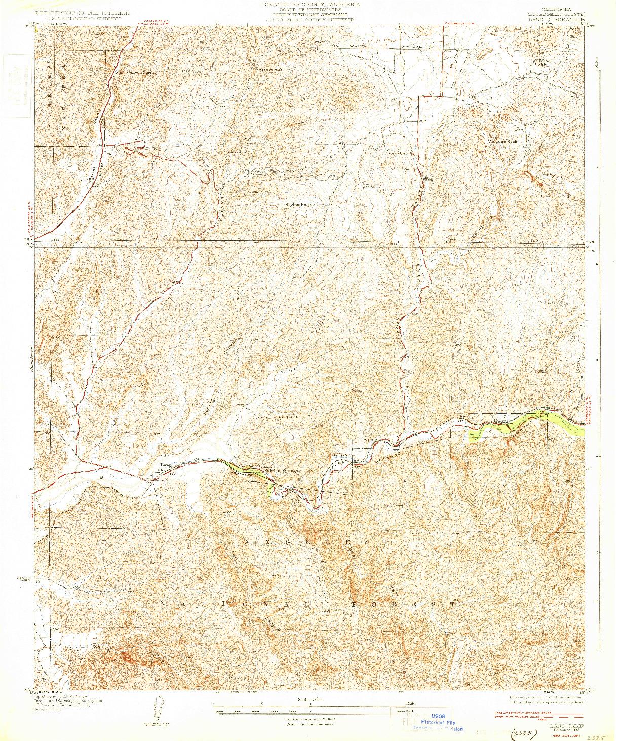 USGS 1:24000-SCALE QUADRANGLE FOR LANG, CA 1933