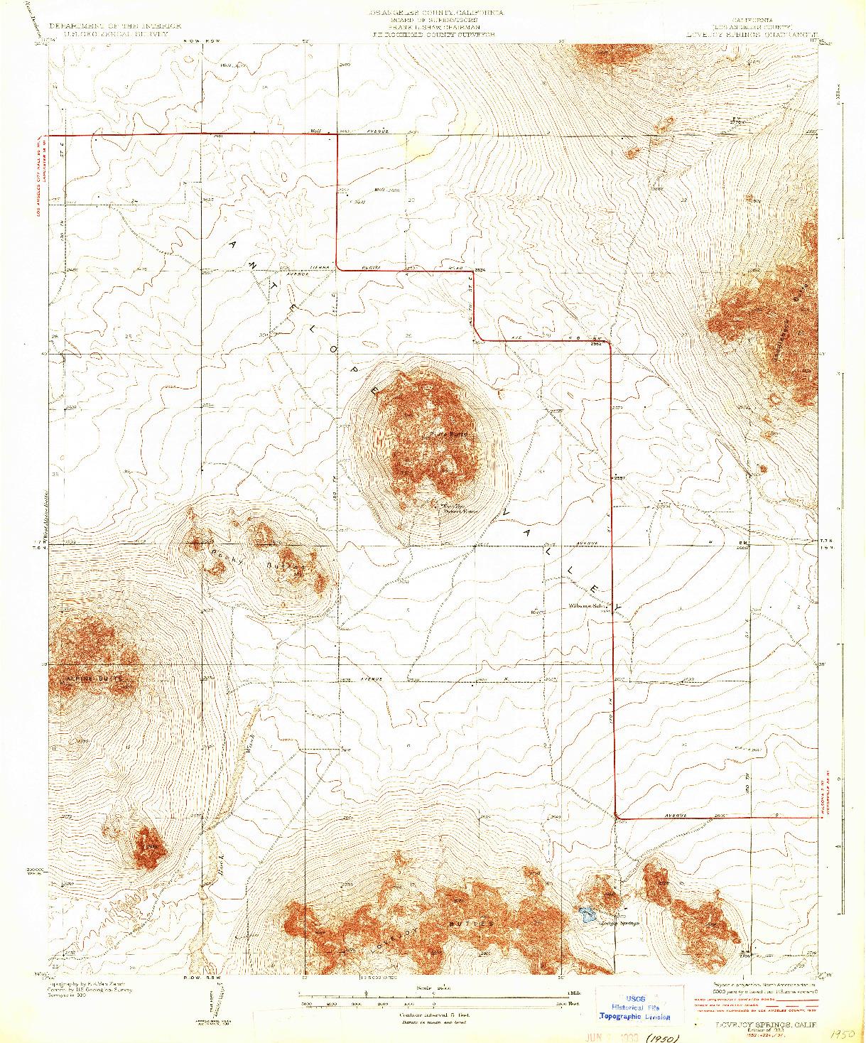 USGS 1:24000-SCALE QUADRANGLE FOR LOVEJOY SPRINGS, CA 1933