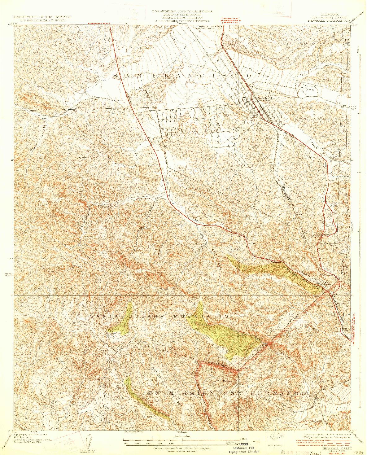 USGS 1:24000-SCALE QUADRANGLE FOR NEWHALL, CA 1933