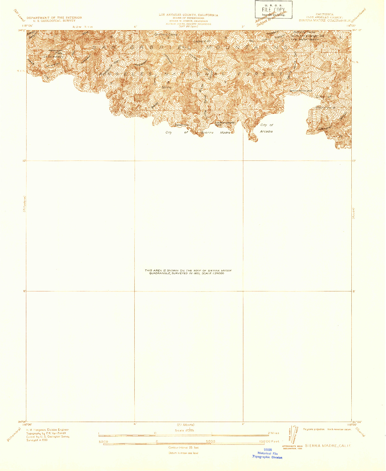 USGS 1:24000-SCALE QUADRANGLE FOR SIERRA MADRE, CA 1933