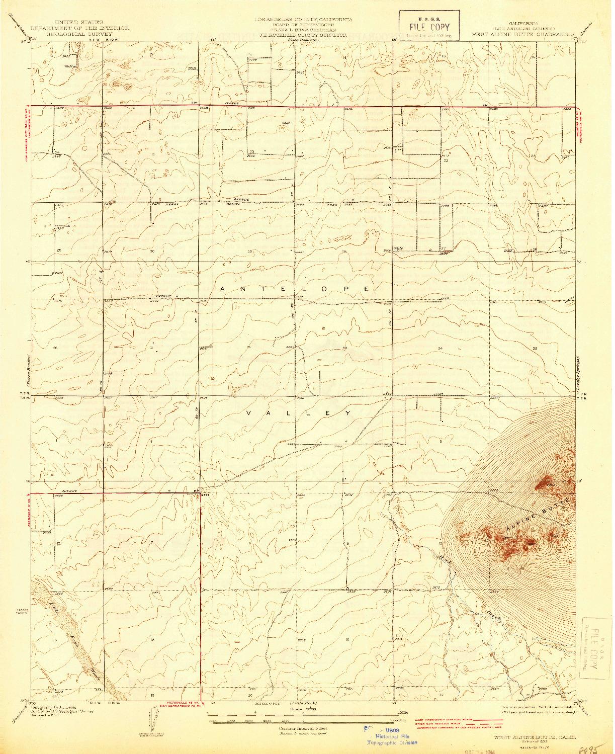 USGS 1:24000-SCALE QUADRANGLE FOR WEST ALPINE BUTTE, CA 1933