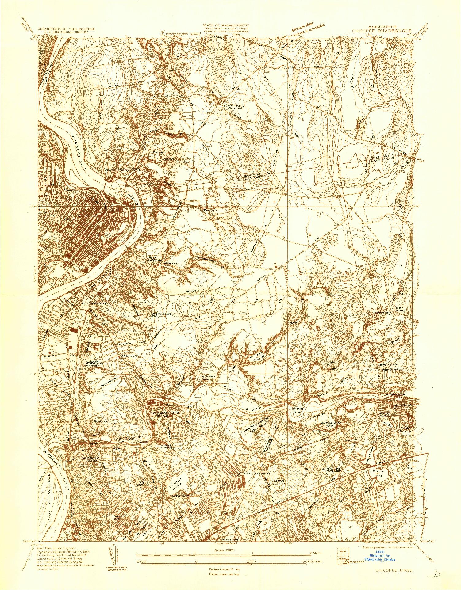 USGS 1:24000-SCALE QUADRANGLE FOR CHICOPEE, MA 1933