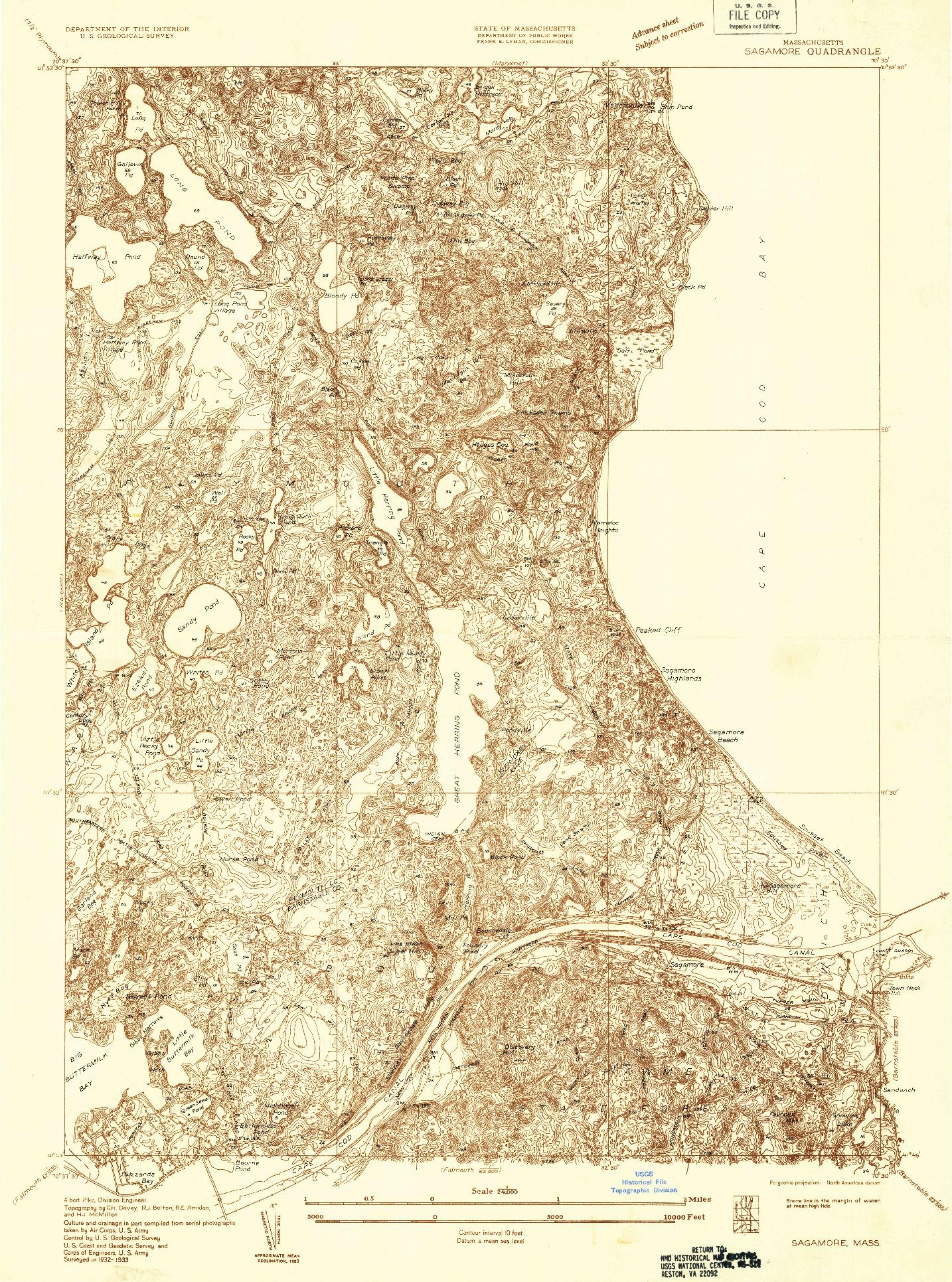 USGS 1:24000-SCALE QUADRANGLE FOR SAGAMORE, MA 1933