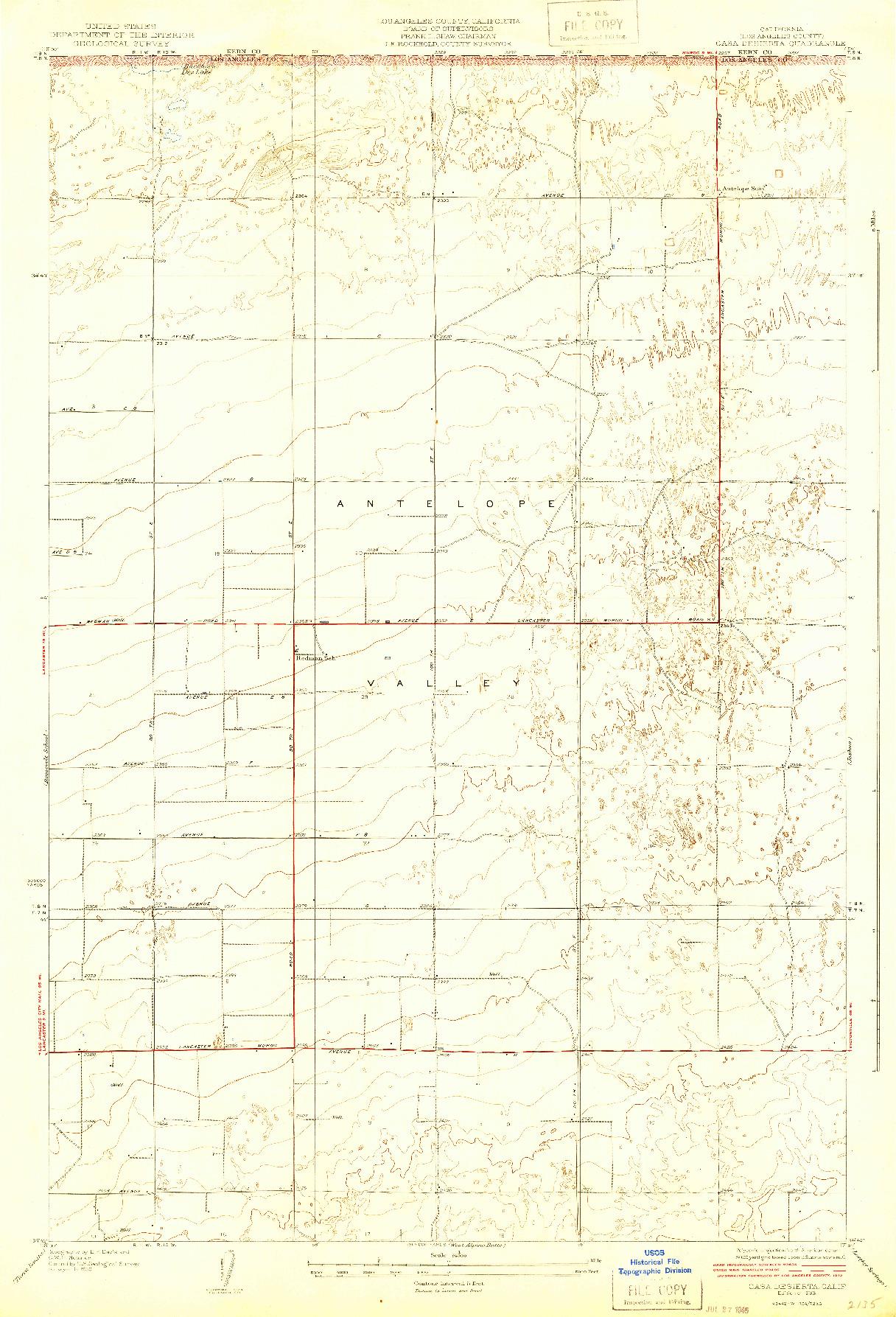 USGS 1:24000-SCALE QUADRANGLE FOR CASA DESIERTA, CA 1933