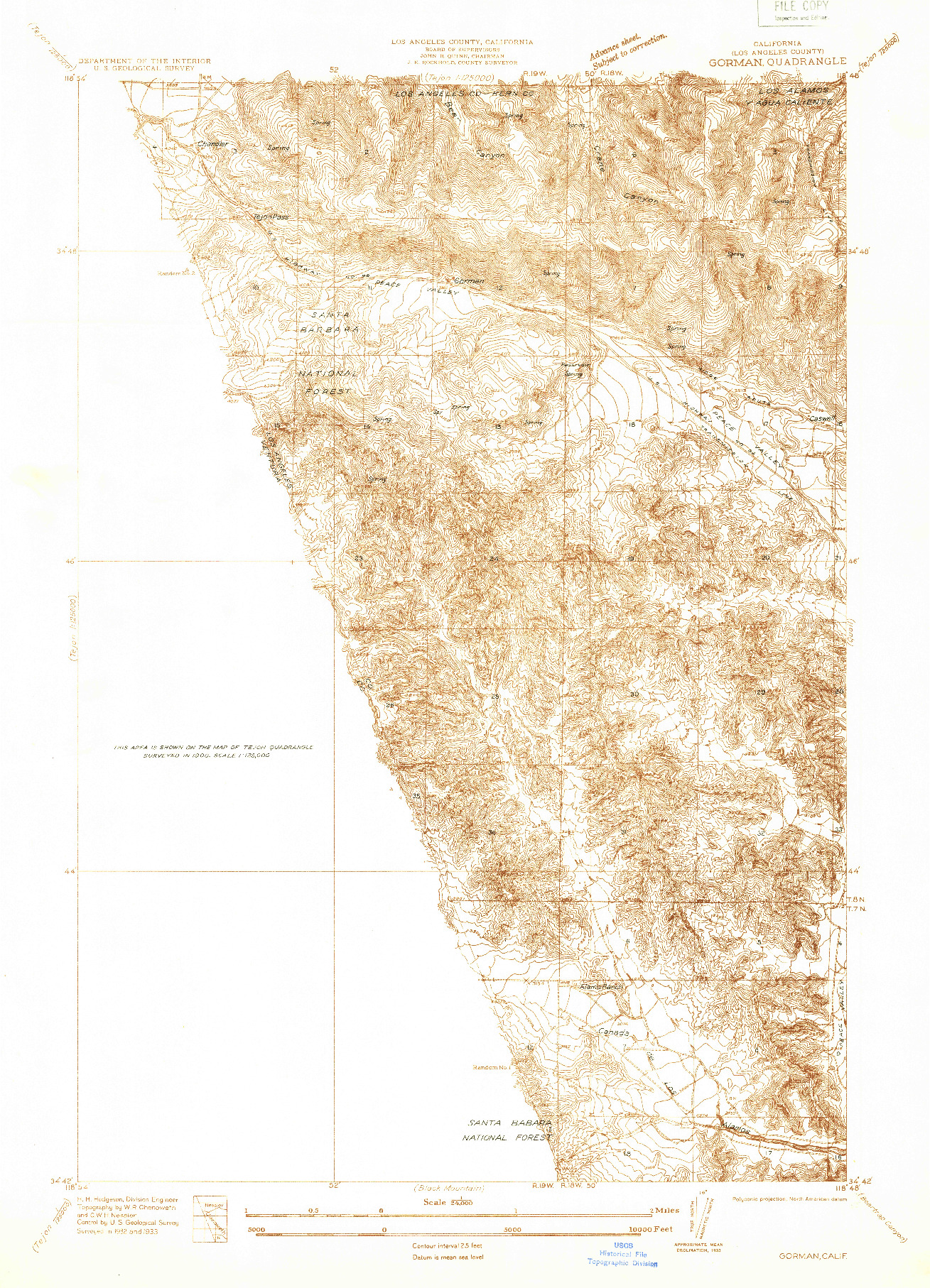 USGS 1:24000-SCALE QUADRANGLE FOR GORMAN, CA 1933