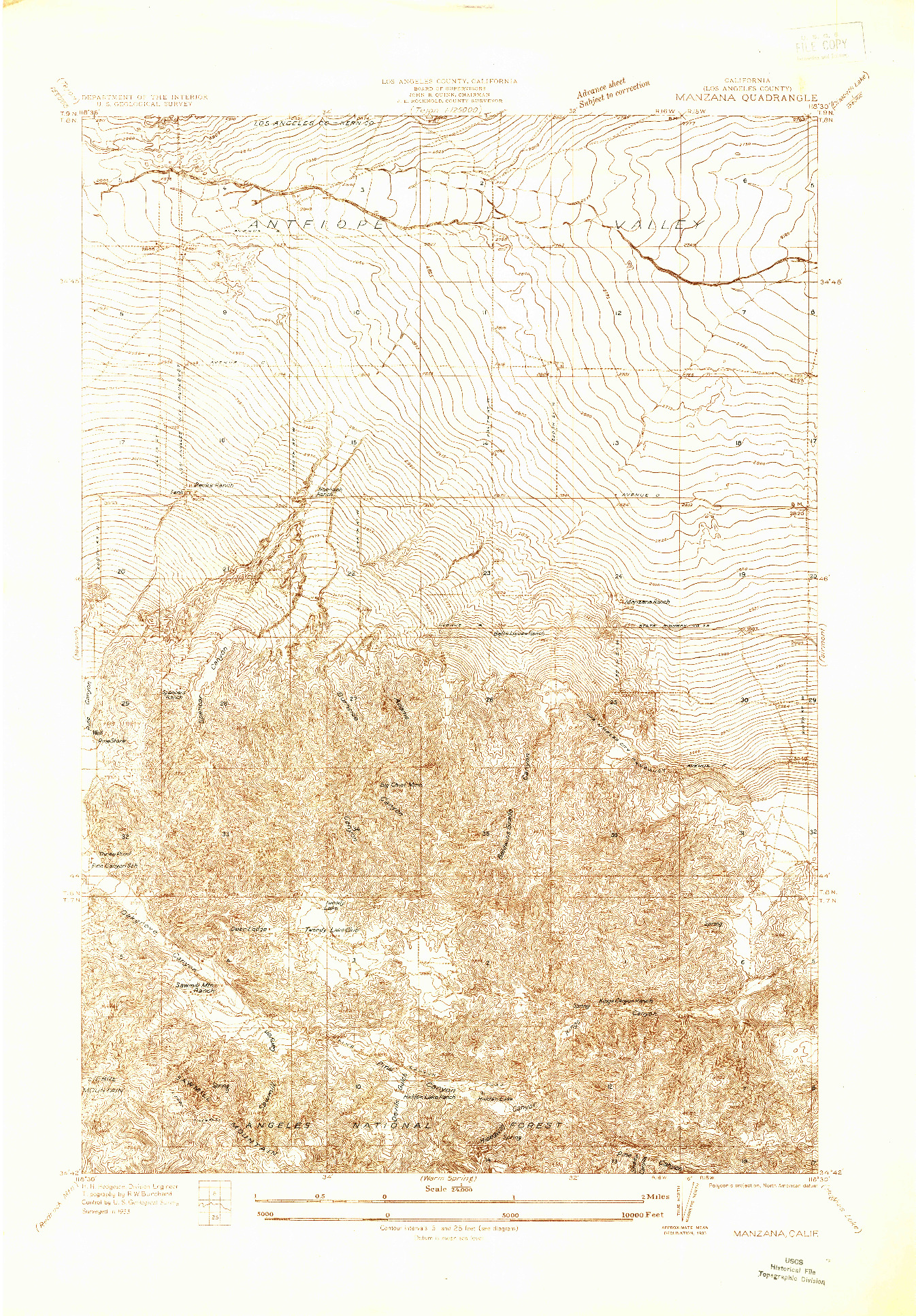 USGS 1:24000-SCALE QUADRANGLE FOR MANZANA, CA 1933