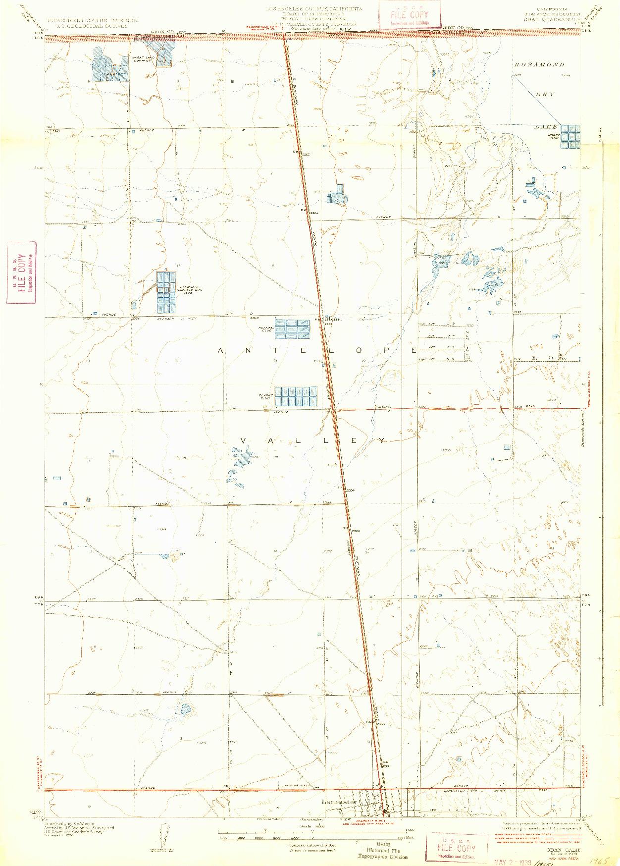 USGS 1:24000-SCALE QUADRANGLE FOR OBAN, CA 1933