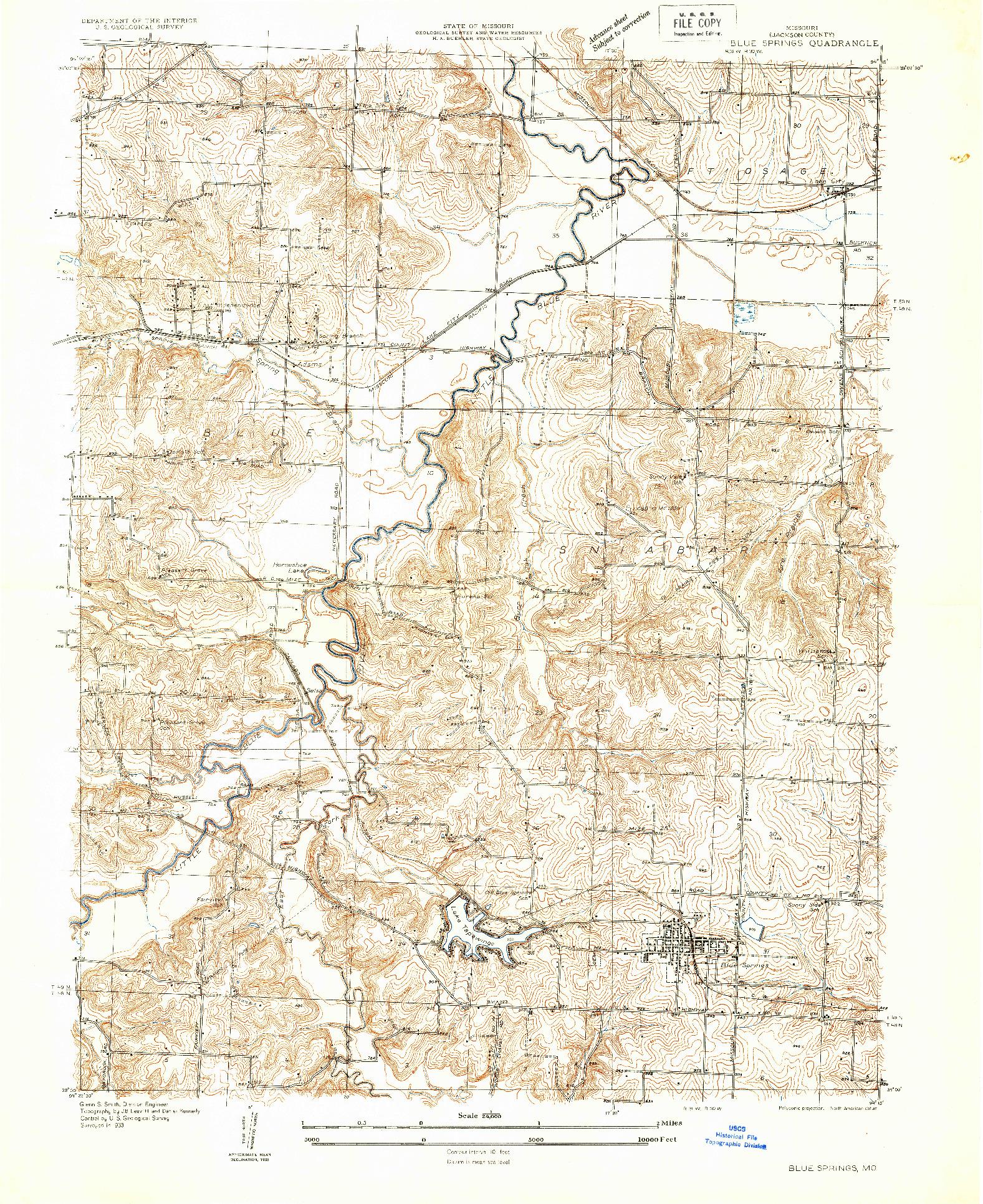 USGS 1:24000-SCALE QUADRANGLE FOR BLUE SPRINGS, MO 1933