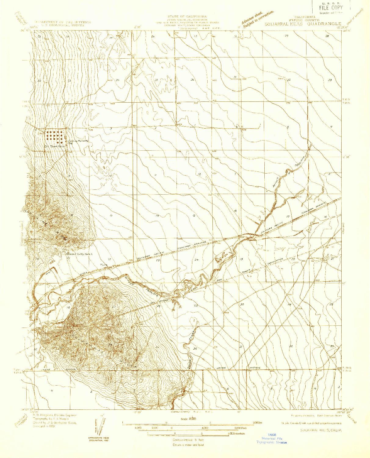 USGS 1:31680-SCALE QUADRANGLE FOR GUIJARRAL HILLS, CA 1933
