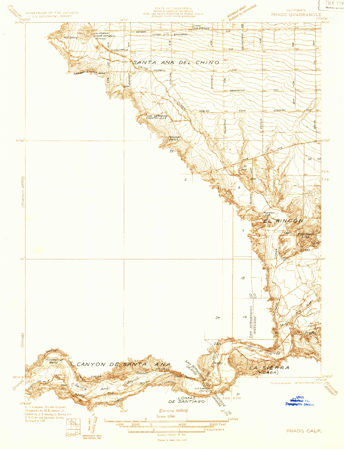 USGS 1:31680-SCALE QUADRANGLE FOR PRADO, CA 1933