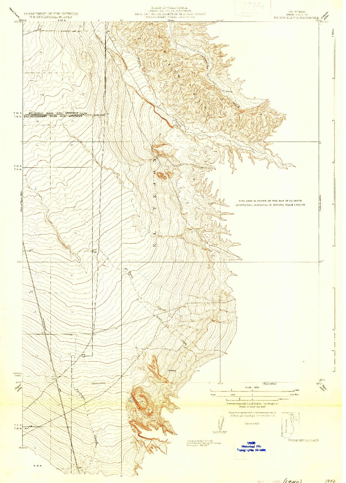 USGS 1:31680-SCALE QUADRANGLE FOR TEJON HILLS, CA 1933