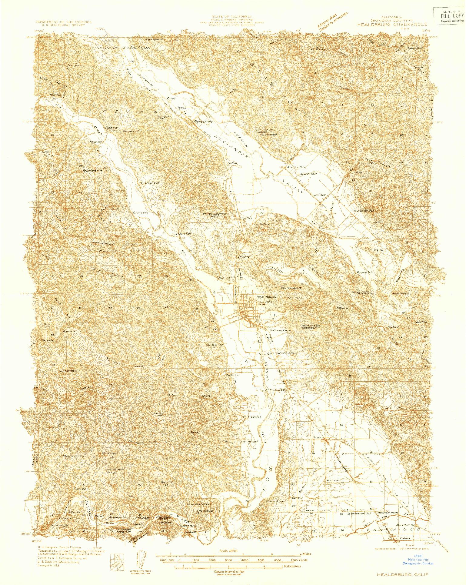 USGS 1:48000-SCALE QUADRANGLE FOR HEALDSBURG, CA 1933