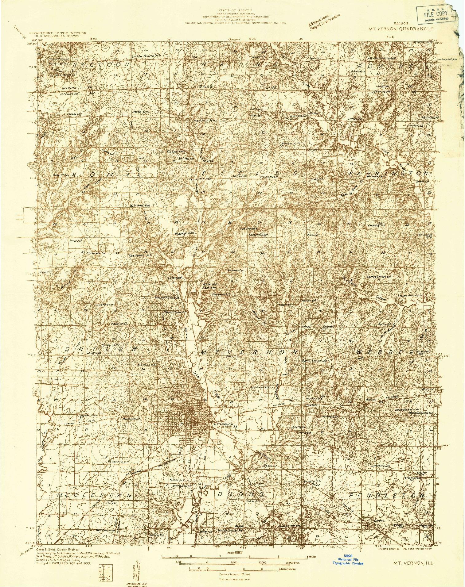 USGS 1:48000-SCALE QUADRANGLE FOR MOUNT VERNON, IL 1933