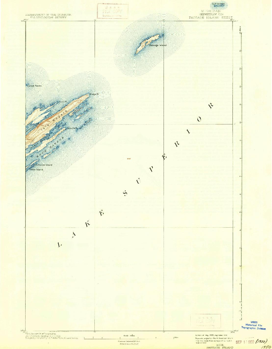 USGS 1:62500-SCALE QUADRANGLE FOR PASSAGE ISLAND, MI 1895
