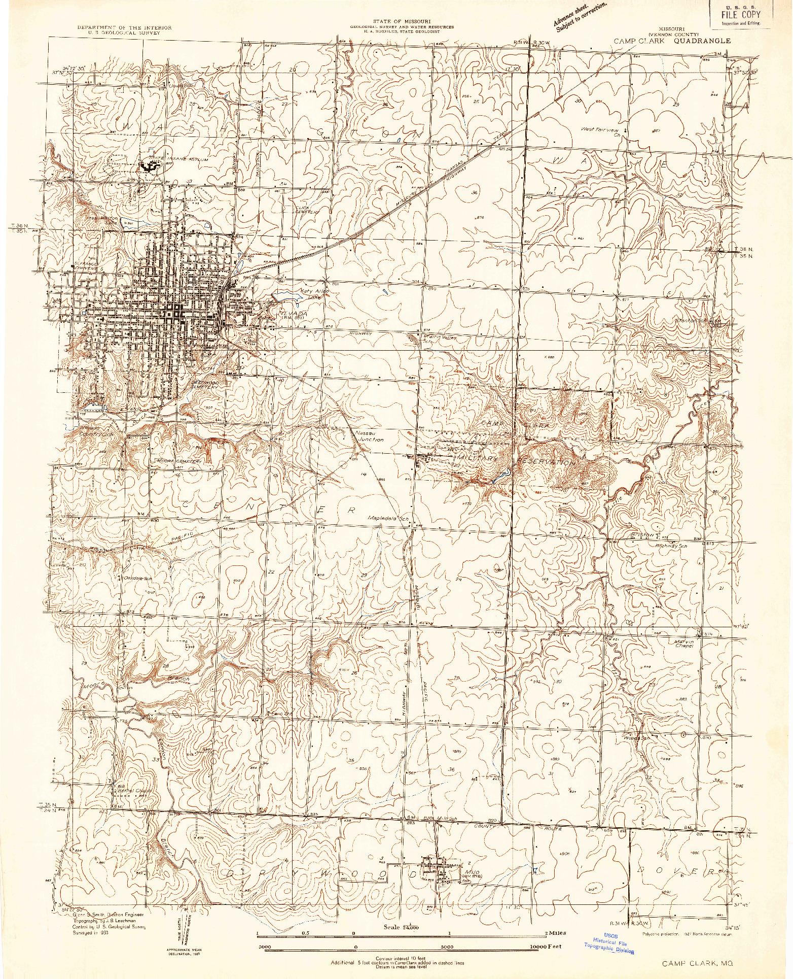 USGS 1:24000-SCALE QUADRANGLE FOR CAMP CLARK, MO 1933