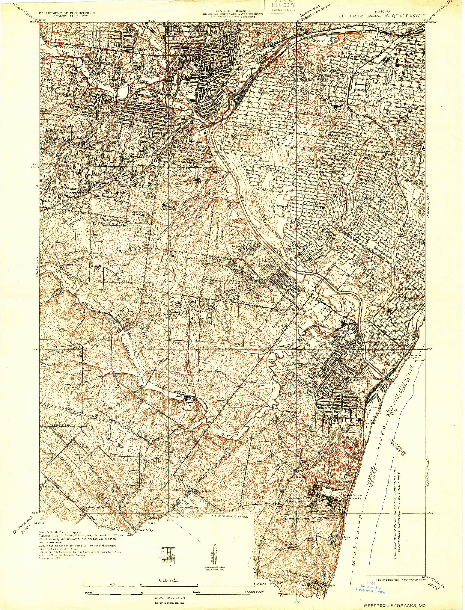 USGS 1:24000-SCALE QUADRANGLE FOR JEFFERSON BARRACKS, MO 1933
