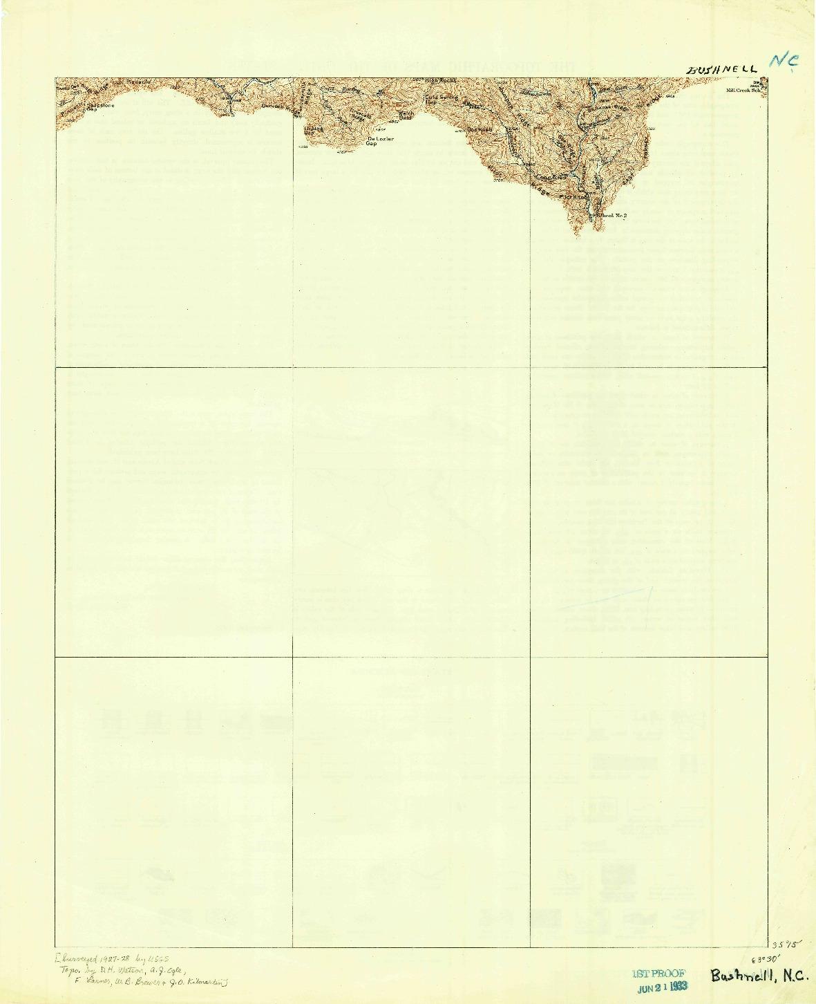 USGS 1:62500-SCALE QUADRANGLE FOR BUSHNELL, NC 1933