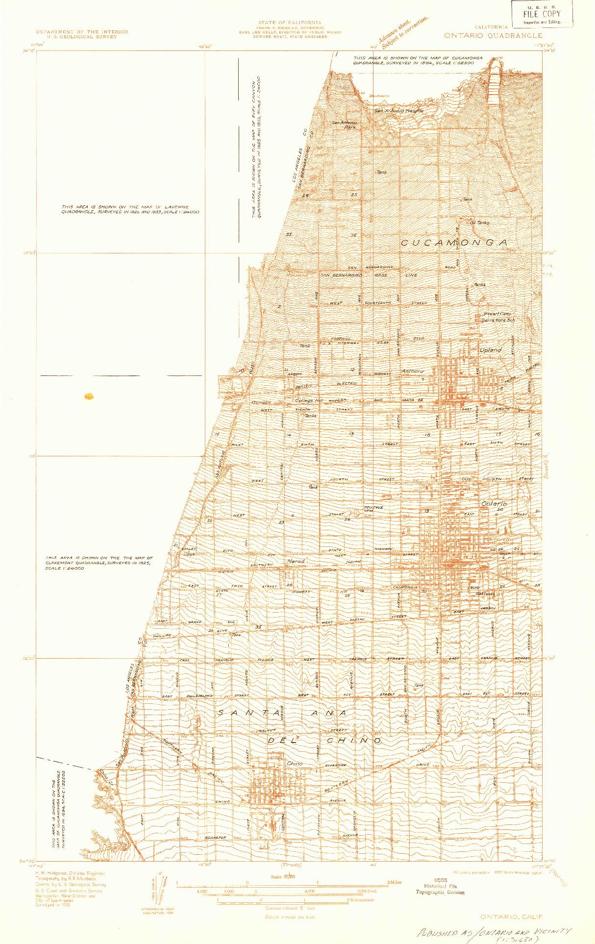USGS 1:31680-SCALE QUADRANGLE FOR ONTARIO, CA 1933